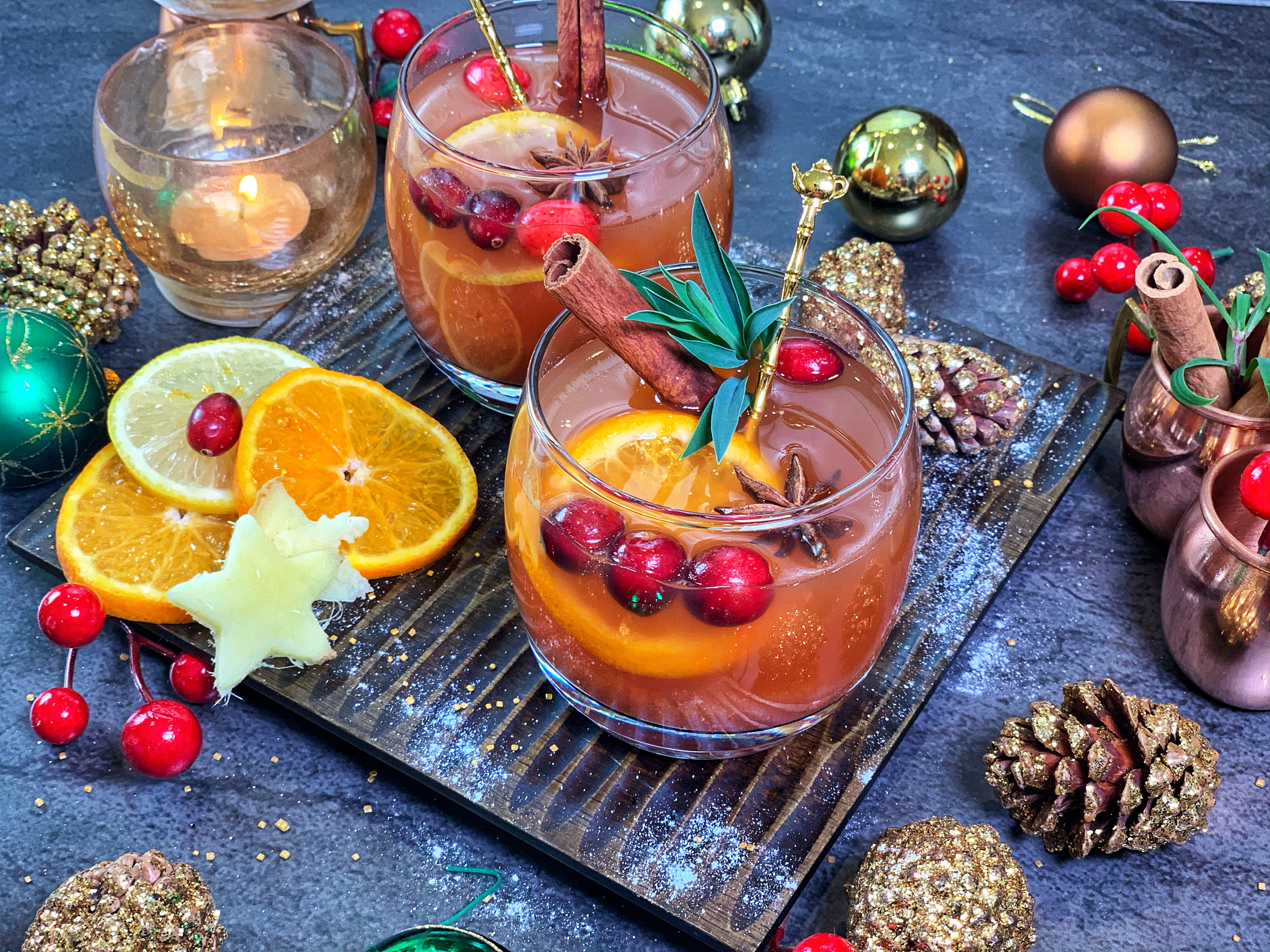Warm Sugar Free Apple Cider - spiced with star anise, cloves and cinnamon, and brought to life with bursts of citrus, the flavors and natural sweetness from dates of this cider are unparalleled. It's the perfect drink to add a festive touch to a holiday party or daily routine.