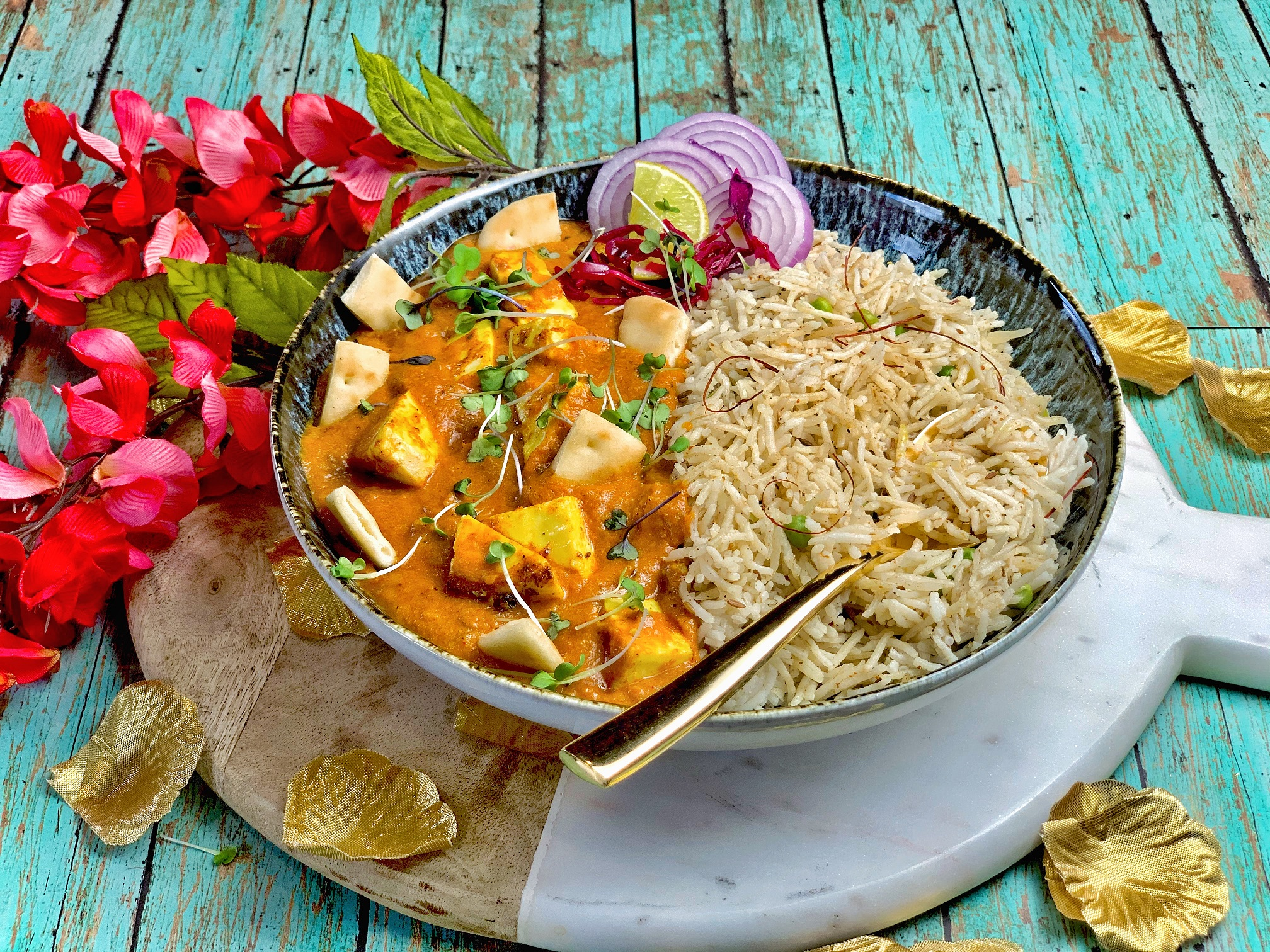 Tandoori Paneer Bowl — In such challenging times, there's nothing like the comfort of tender paneer in a classic makhani sauce. This super quick version served on a bed of some rice is sure to be a hit even with your kids!