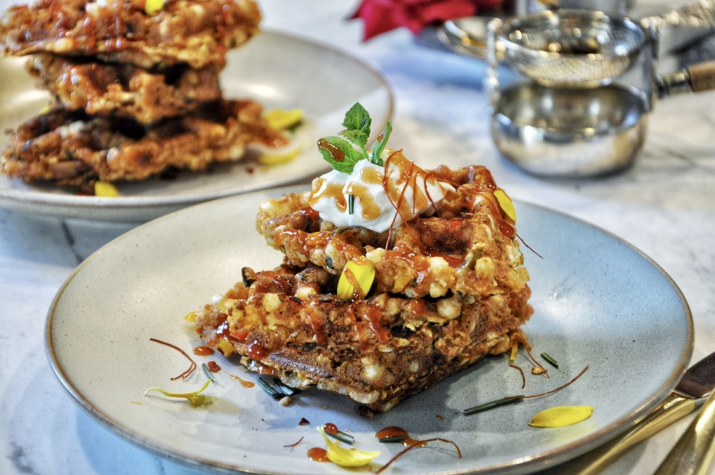 Crispy on the outside and fluffy on the inside, these Savory Sabudana Waffles are a modern take on sabudana, a staple ingredient used all over India in vada or khichdi. Whip these beauties up as a quick breakfast or evening snack and enjoy the cheesy, spicy, guilt-free flavors!