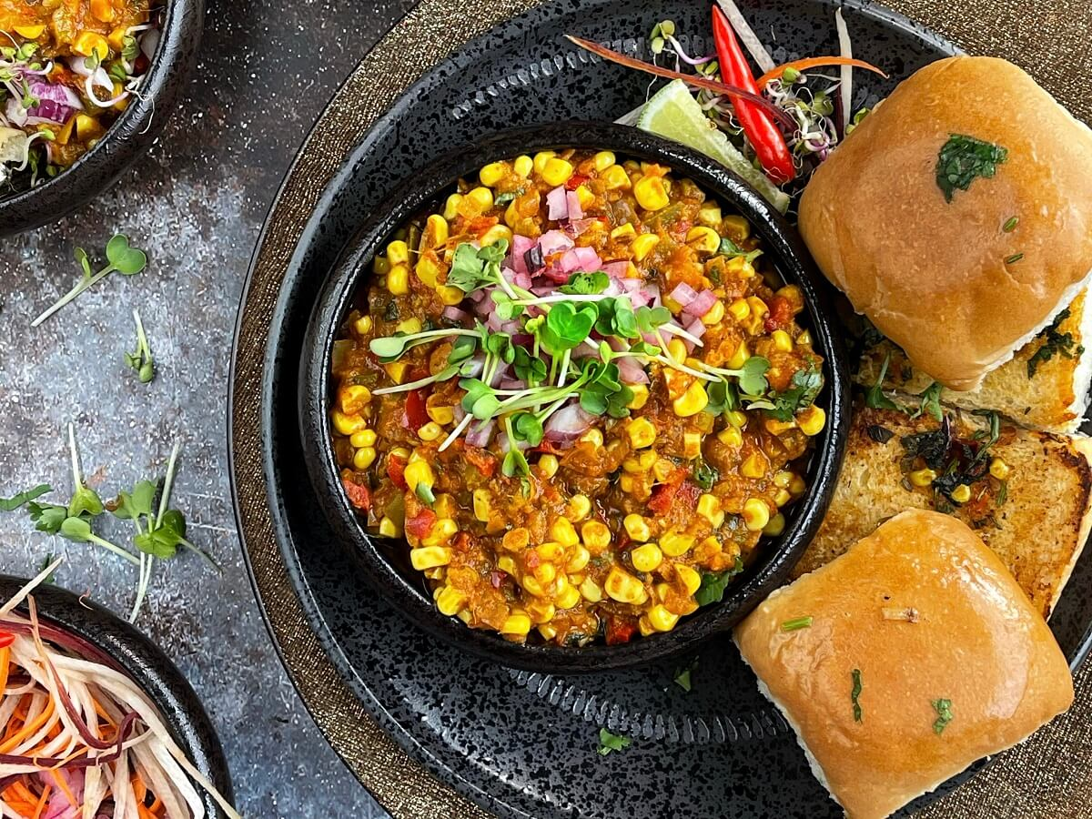 Corn Pav Bhaji (Instant Pot or Stovetop)